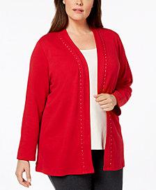 Karen Scott Plus Size Cotton Rhinestone-Trim Cardigan, Created for Macy's