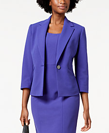 Kasper One-Button Pleat-Back Jacket