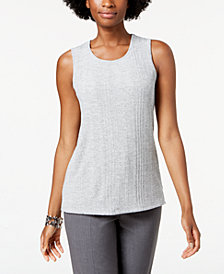 Kasper Ribbed Knit Shell