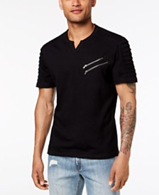 I.N.C. Men's Split-Neck Zipper T-Shirt, Created for Macy's