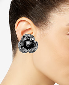 Betsey Johnson Black Crystal Stud Earrings