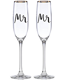 kate spade new york Bridal Party Mr. & Mr. Flute Pair