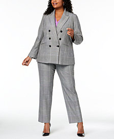 Nine West Plus Size Plaid Jacket, V-Neck Shell & Plaid Pants