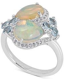 Opal, Blue Topaz (1 ct. t.w.) & White Topaz (1/4 ct. t.w.) Ring in Sterling Silver