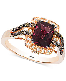 Le Vian® Raspberry Rhodolite® (1-3/4 ct. t.w.) & Diamond (1/4 ct. t.w.) Ring in 14k Rose Gold