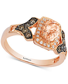 Le Vian® Peach Morganite™ (1/2 ct. t.w.) & Diamond (1/4 ct. t.w.) Ring in 14k Rose Gold