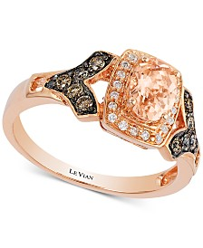 Le Vian® Peach Morganite™ (1/2 ct. t.w.) & Diamond (1/4 ct. t.w.) Ring in 14k Rose Gold
