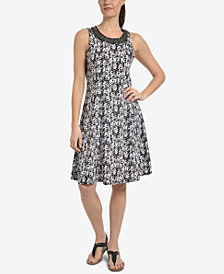 NY Collection Printed Beaded-Neck Dress