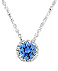 "Blue Swarovski Zirconia 18"" Pendant Necklace in Sterling Silver"