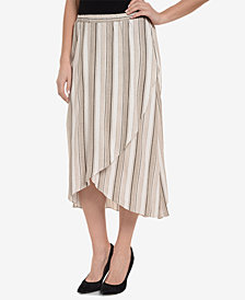 NY Collection Striped Tulip-Hem Skirt