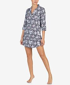 Lauren Ralph Lauren Floral-Print Contrast-Trim Sleepshirt