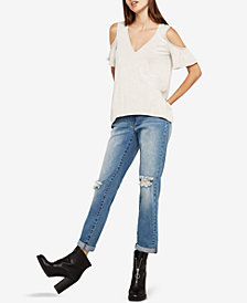 BCBGeneration Cold-Shoulder Space-Dyed Top