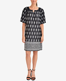 NY Collection Printed Keyhole Dress