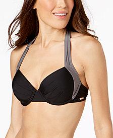 Calvin Klein Color-Block Halter Underwire Bikini Top