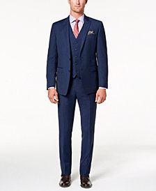 Tallia Men's Big & Tall Slim-Fit Stretch Navy Stripe Vested Suit