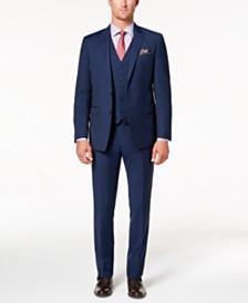 Tallia Men's Big & Tall Slim-Fit Stretch Navy Stripe Vested Suit