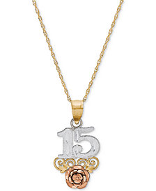 "Tricolor Quinceañera ""15"" Rose 16"" Pendant Necklace in 14k Gold, Rose Gold & Rhodium Plate"