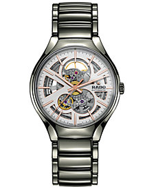 Rado Men's Swiss Automatic True Open Heart Plasma High-tech Ceramic Bracelet Watch 40mm