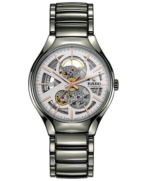 Rado Men's Swiss Automatic True Open Heart Plasma High-tech Ceramic Bracelet Watch 40mm