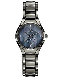 Rado Women's Swiss Automatic True Star Capricorn Sign Diamond-Accent Plasma High-Tech Ceramic Bracelet Watch 30mm