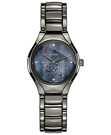 Rado Women's Swiss Automatic True Star Taurus Sign Diamond-Accent Plasma High-Tech Ceramic Bracelet Watch 30mm