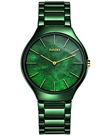 Rado Women's Swiss True Thinline Green High-Tech Ceramic Bracelet Watch 39mm