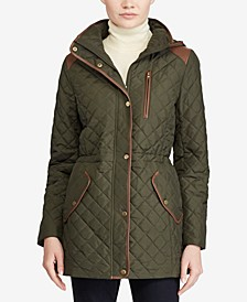 Faux-Leather-Trim Quilted Anorak Coat