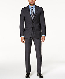 Calvin Klein Men's Slim-Fit Gray/Blue Plaid Suit Separates