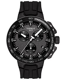 Men's Swiss Chronograph T-Sport T-Race Cycling Black Silicone Strap Watch 45mm