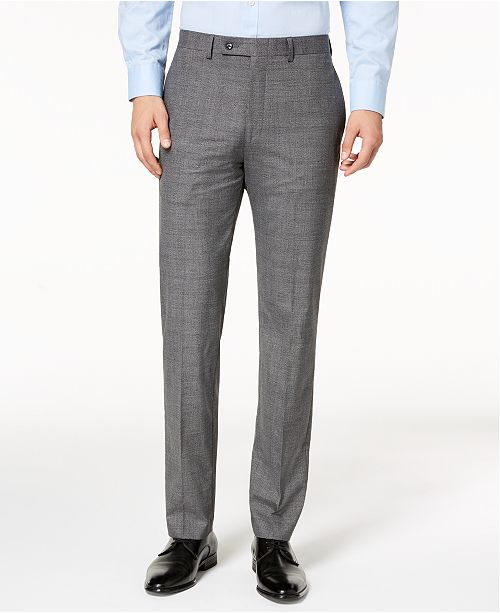 Calvin Klein Mens Slim-Fit Stretch Plaid Dress Pants