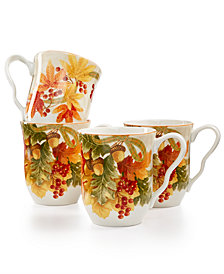 222 Fifth Autumn Celebration Harvest Mugs, Set of 4