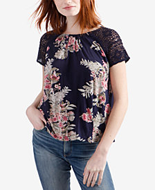 Lucky Brand Crochet-Sleeve Floral-Print Top