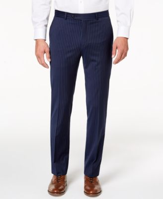 Men's Modern-Fit TH Flex Stretch Navy Pinstripe Suit Pants