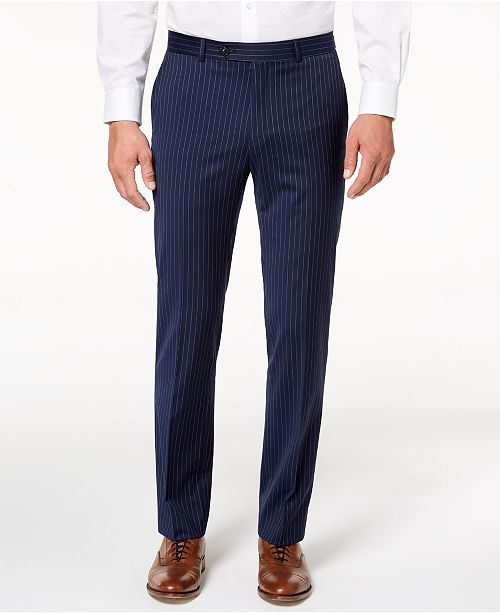 100% high quality release date later Men's Modern-Fit TH Flex Stretch Navy Pinstripe Suit Pants