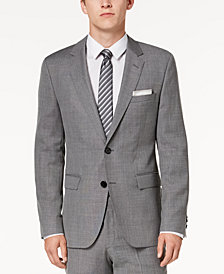 HUGO Men's Modern-Fit Light Gray Patterned Suit Jacket