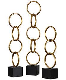 Uttermost Chane Set of 3 Gold-Leaf Sculptures