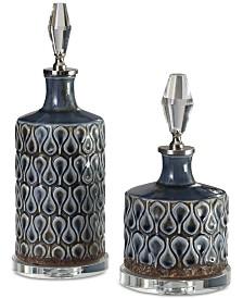 Uttermost Varuna Set of 2 Cobalt Blue Bottles