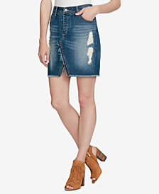 Jessica Simpson Juniors' Adorn Cotton Ripped Denim Skirt