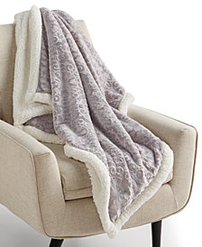 """Martha Stewart Collection Textured Medallion Reversible 50"""" x 60"""" Fleece Throw, Created for Macy's"""