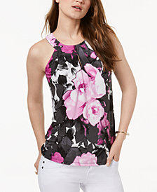 I.N.C. Floral Keyhole Halter Top, Created for Macy's