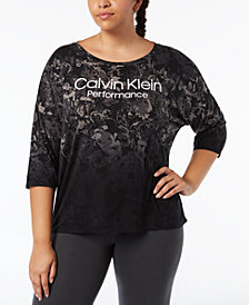 Calvin Klein Performance Plus Size Logo-Print Top