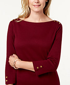 Karen Scott Petite Cotton Boat-Neck Dress, Created for Macy's