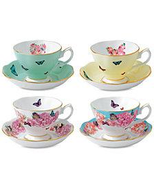 Miranda Kerr for Royal Albert Mixed Pattern Teacup & Saucer Service for 4