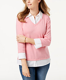 Karen Scott Cotton Layered-Look Top, Created for Macy's