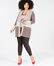 Charter Club Plus Size Pure Cashmere Colorblock Cardigan Sweater, Created for Macy's