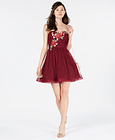 B Darlin Juniors' Rose-Appliqué Strapless Dress