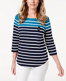 Karen Scott Striped Button-Shoulder Top, Created for Macy's