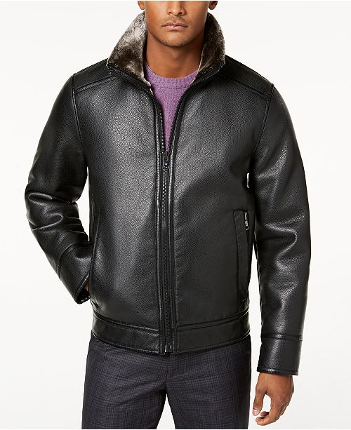 134b2f49ef91 ... Calvin Klein Men's Faux Shearling Lined Leather Moto Jacket ...