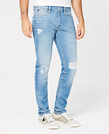 GUESS Men's Slim-Fit Tapered-Leg Stretch Destroyed Jeans