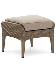 CLOSEOUT! Silver Lake Indoor/Outdoor Flat Rattan Ottoman with Sunbrella® Cushions, Created for Macy's